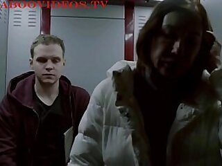 Young guy fucks with sexy mom in an elevator [Movie scene]
