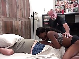 Young ebony pounded by 2 white guys
