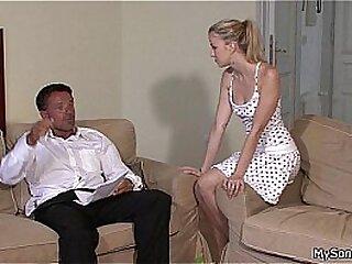 Lovely blonde jumps at old man big cock