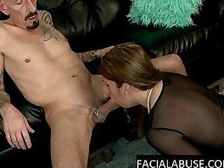 Milf slut as he slaps her spits on her fucks her throat
