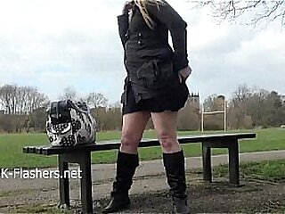 Blonde amateur babe Sophies outdoor striptease and public flashing of busty youn