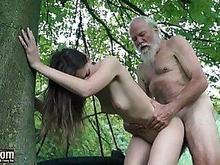 Sexy y. deepthroats old man cumshot after she fucks him super hard and kinky