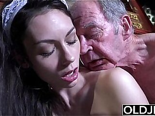 Young maid beauty deepthorating and fucking old grey fart