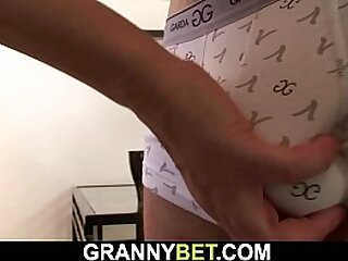 Old granny riding young dick