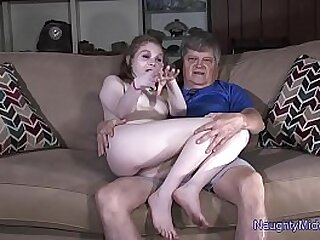 Short redhead sucks old guys cock in porn audition