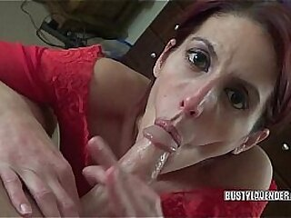 Busty redhead Lavender Rayne gets fucked from behind