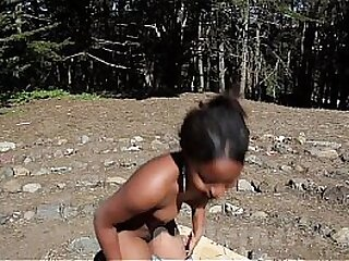 Nude in San Francisco:  18-year-old black girl masturbates in park again!